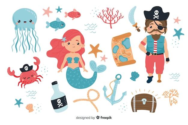 Verzameling van karakters uit het mariene leven
