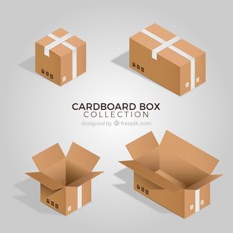 Verzameling van kartonnen dozen in realistische stijl