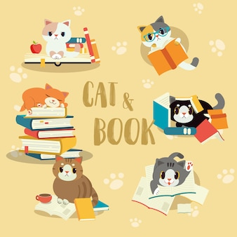 Verzameling van kat met een boekenset