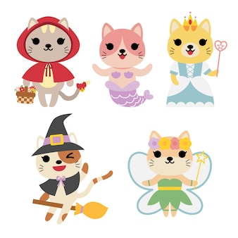 Verzameling van katten in verschillende kostuums: heks, zeemeermin, tandenfee, prinses