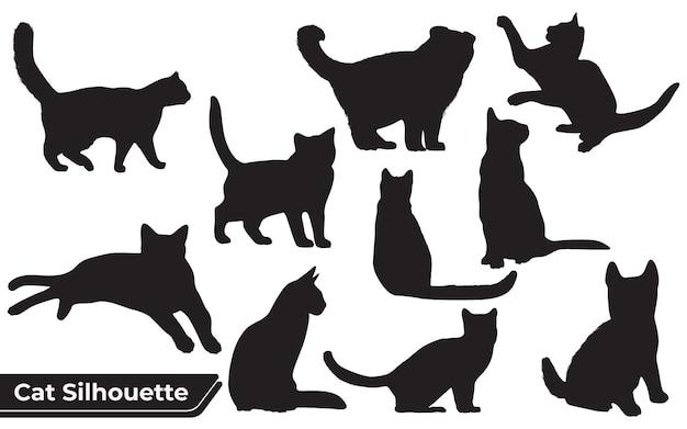 Verzameling van katten silhouet in verschillende posities