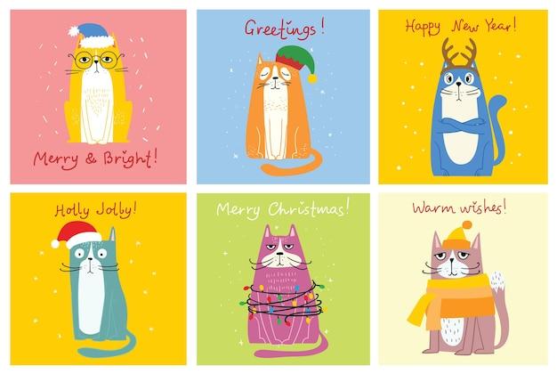 Verzameling van katten vrolijke kerstillustraties van schattige katten