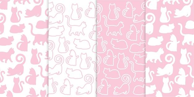 Verzameling van kattenbeeldverhaalsilhouetten in geïsoleerd premium vectorpatroon in babyroze kleuren