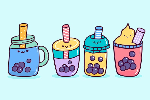Verzameling van kawaii bubble tea