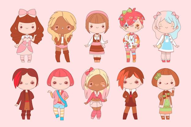 Verzameling van kawaii harajuku-mensen