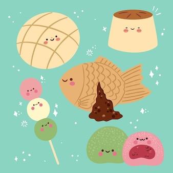Verzameling van kawaii japans dessert