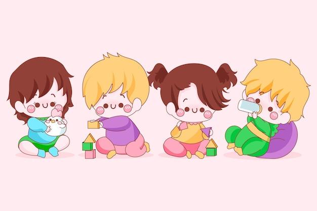 Verzameling van kawaii japanse baby's