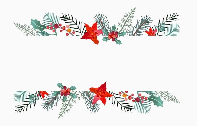 Verzameling van kerst achtergrond set met hulst bladerenflowerrendier