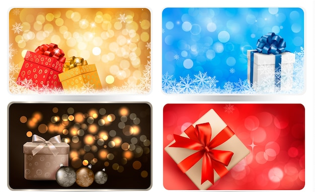 Verzameling van kerst achtergronden met geschenkdozen en sneeuwvlokken.