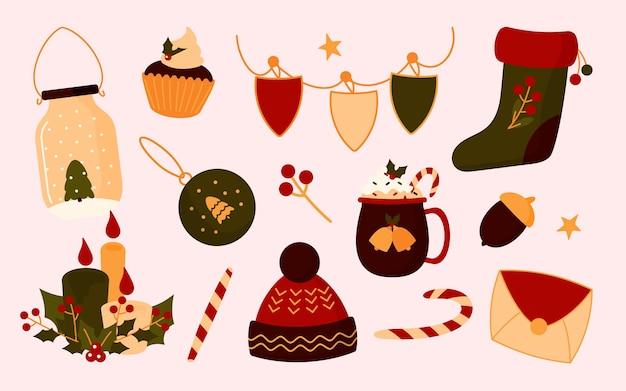 Verzameling van kerst elementen in vlakke stijl. laars van de kerstman, hoed, dennenboom in pot, vlag, beker.