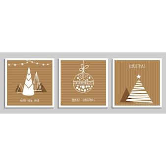 Verzameling van kerst- en nieuwjaarswenskaarten met kerstbomen en versieringen