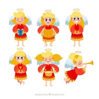 Verzameling van kerst engelen in rode gewaden