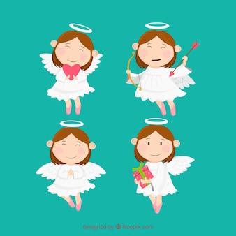 Verzameling van kerst engelen in witte gewaden