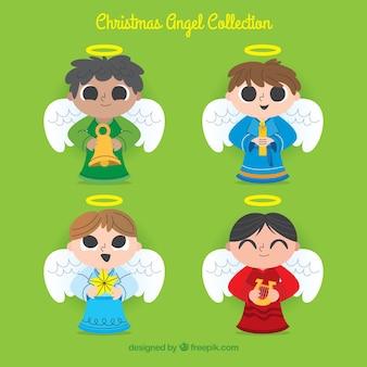 Verzameling van kerst engelen jongens