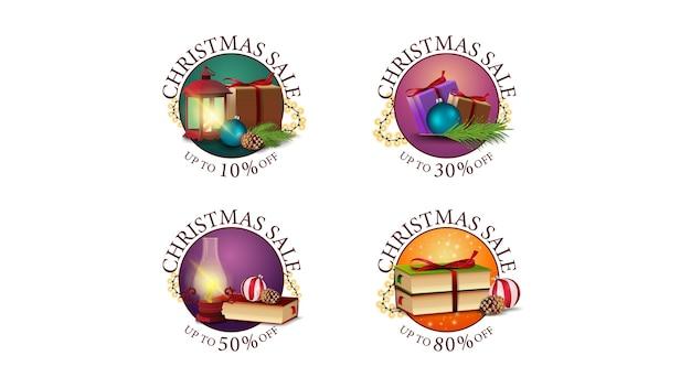 Verzameling van kerst ronde korting web stickers versierd met kerst iconen. set ronde banners met verschillende aanbiedingen