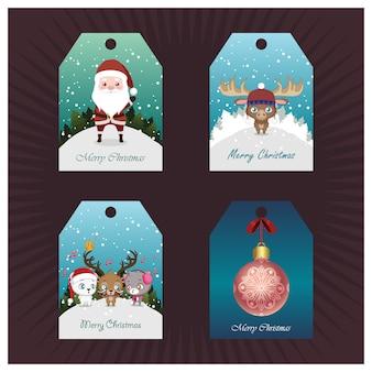 Verzameling van kerst tags met miniatuur scènes