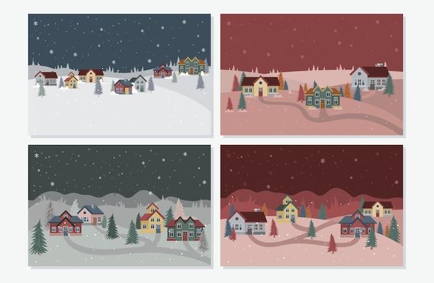 Verzameling van kerst winterlandschap