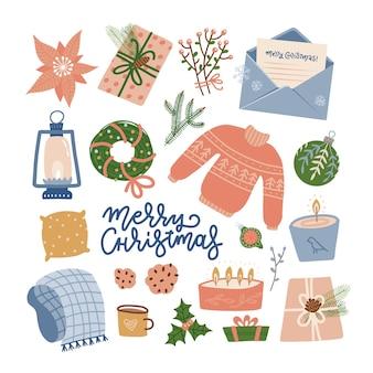Verzameling van kerstartikelen decoraties vakantie geschenkdozen winter gebreide trui krans en lett...