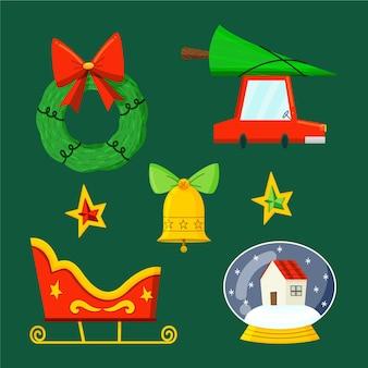 Verzameling van kerstbadge in plat ontwerp