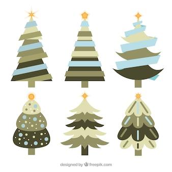Verzameling van kerstbomen in blauwe, grijze en groene tinten