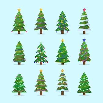 Verzameling van kerstbomen in plat design. nieuwjaar en kerstmis traditionele symboolboom met slingers, gloeilamp, ster.