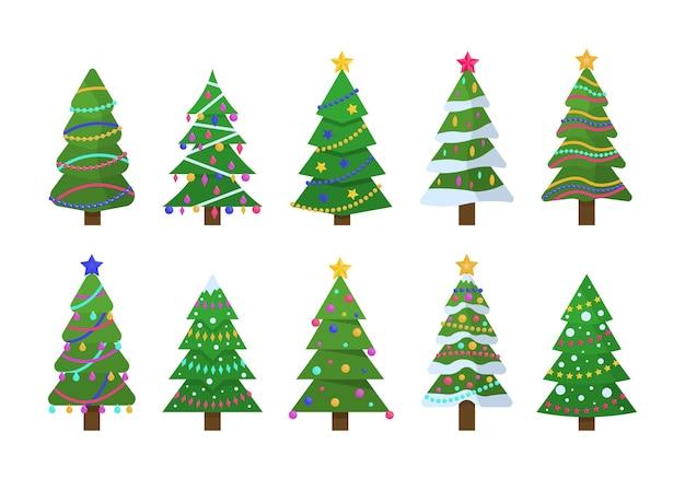 Verzameling van kerstbomen in plat ontwerp voor wenskaarten, uitnodigingen, banner, webdesign. nieuwjaar en kerstmis traditionele symboolboom met slingers, gloeilamp, ster. winter vakantie.