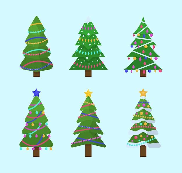 Verzameling van kerstbomen in plat ontwerp voor wenskaarten, uitnodigingen, banner, webdesign