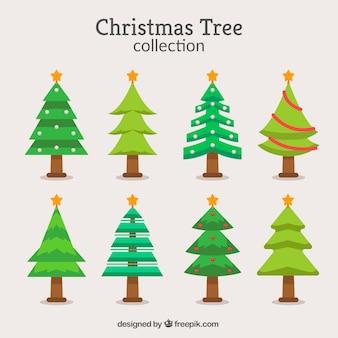 Verzameling van kerstbomen in verschillende tinten groen