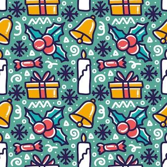 Verzameling van kerstdag patroon met pictogrammen en ontwerpelementen