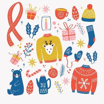 Verzameling van kerstelementen. traditionele wintervakantie decoratie, kleding, geschenken en dieren, geïsoleerd. kleurrijke illustratie