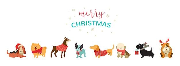 Verzameling van kersthonden, merry christmas-illustraties van schattige huisdieren
