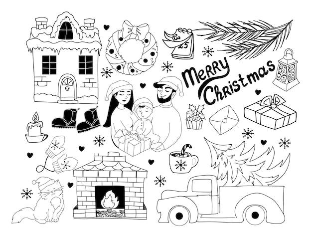 Verzameling van kerstkrabbels seth familie voor kerst wintervakantie handgetekend