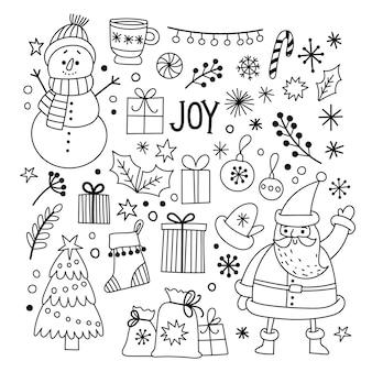 Verzameling van kerstkrabbels