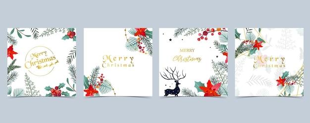 Verzameling van kerstmis achtergrond instellen met hulst bladeren, bloem, rendieren. bewerkbare vectorillustratie voor nieuwjaar uitnodiging, briefkaart en website banner