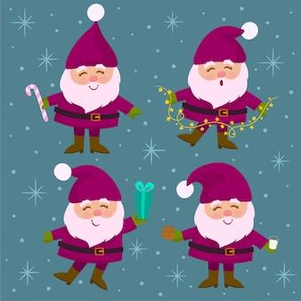 Verzameling van kerstmis santa claus.