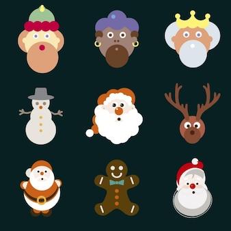 Verzameling van kerstmis tekens
