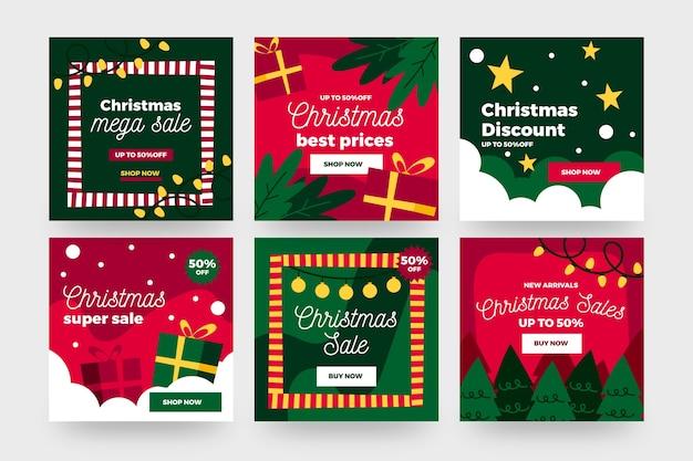 Verzameling van kerstmis verkoop instagram post