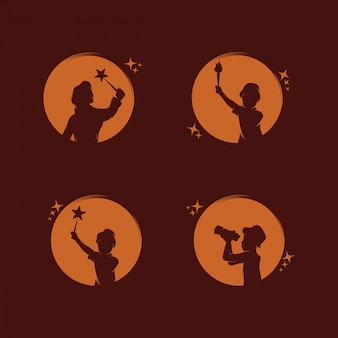 Verzameling van kinderen bereiken dromen logo-ontwerp