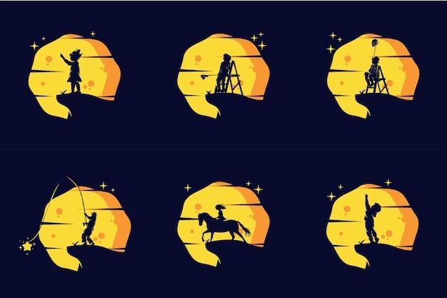 Verzameling van kinderen bereiken star logo set design template inspiratie