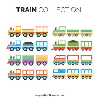 Verzameling van kinderlijke treinen