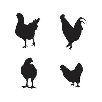 Verzameling van kip dieren silhouet vectorillustraties