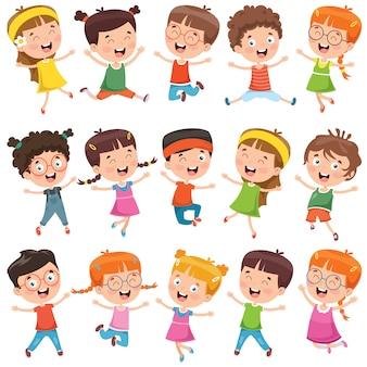 Verzameling van kleine cartoon kinderen