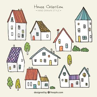 Verzameling van kleine hand getekende huizen