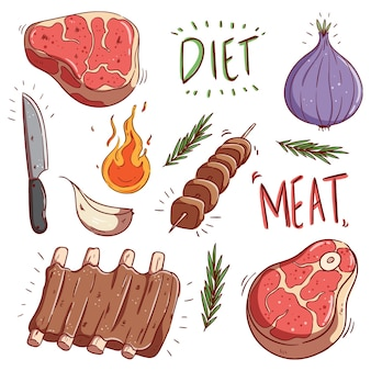 Verzameling van kleurrijk rauw vlees en biefstuk met doodle of hand tekenen stijl