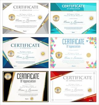 Verzameling van kleurrijke certificaat of diploma retro ontwerpsjabloon