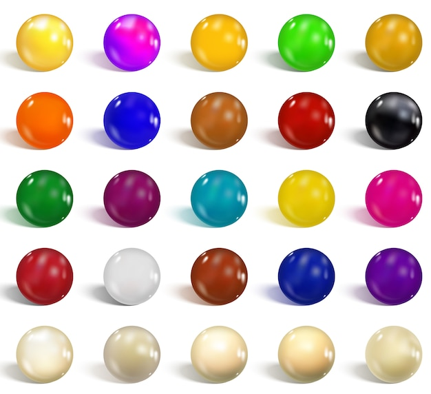 Verzameling van kleurrijke glanzende bollen