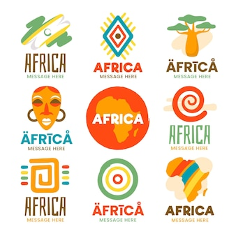 Verzameling van kleurrijke logo-sjablonen van afrika
