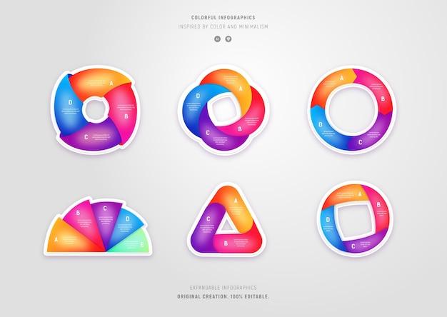 Verzameling van kleurrijke minimalistische stijlafbeeldingen met verlopen