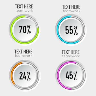 Verzameling van kleurrijke percentages