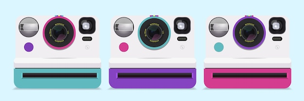 Verzameling van kleurrijke polaroid-camera's.
